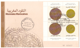 Maroc. FDC. 2011. 4 Timbres. Monnaies Marocaines. Tête Bêche.  8 Fels Et 1 Dinar. - Morocco (1956-...)