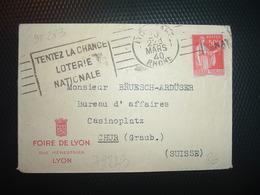 LETTRE MIGNONNETTE Pour La SUISSE TP PAIX 50c OBL.MEC.20 MARS 40 LYON GARE (69) FOIRE DE LYON - Otros