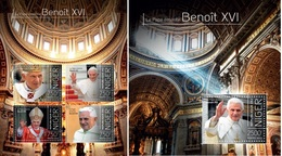 Niger 2013, Pope Benedict XIV, 4val In BF+BF - Papes