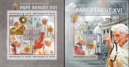 Niger 2013, Pope Benedict, 4val In BF +BF - Papes