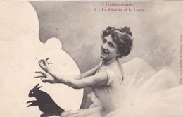 OMBROMANIE. CPA . LA DIVETTE ET LE LAPIN. ANNÉE 1902 - Silhouettes