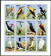 LIBERIA 1996** - Uccelli / Birds - Sheet Di 12 Val. MNH, Come Da Scansione., - Uccelli