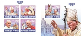 Niger 2013, Pope John Paul II, 4val In BF+BF IMPERFORATED - Papes