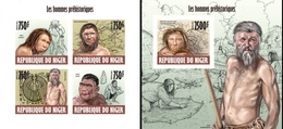 Niger 2013, Prehistoric Men, 4val In BF+BF IMPERFORATED - Niger (1960-...)