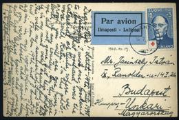 Finnország 1948 , Légi Képeslap Budapestre  /  FINNLAND 1948 Airmail Vintage Picture Postcard To Budapest - Gebraucht