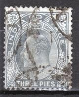 India 1902 King Edward VII  Three Pies Grey Used Stamp. - India (...-1947)