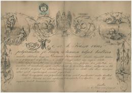 KASSA 1872. Igen Ritka, Dekoratív,metszetes Városi Polgárjogot Adományozó Oklevél! (folio Méret)  /  1872 Very Rare Deco - Vieux Papiers