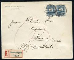 BUDAPEST 1898. Dekoratív Ajánlott Hotel Levél 10kr Pár , Hanau-ba Küldve  /  BUDAPEST 1898 Decorative Reg. Hotel Letter - Ungheria