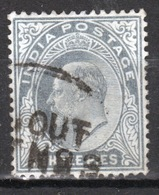 India 1902 King Edward VII  Three Pies Slate Grey Used Stamp. - India (...-1947)