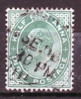 India 1902 King Edward VII  Half Anna Green Used Stamp. - India (...-1947)