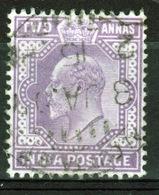 India 1902 King Edward VII  Two Anna Mauve Used Stamp. - India (...-1947)
