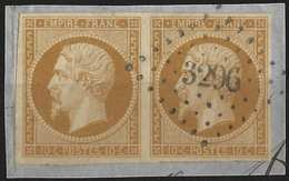 Napoléon III N°13 I 10c Bistre Oblitéré Paire Obl PC 3296 De Saint Tropez Superbe !! - 1853-1860 Napoleone III