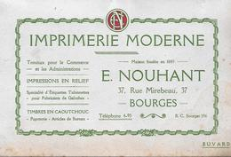 Buvard - Imprimerie Moderne - NOUHANT à BOURGES (18) - Années 1930 / 1950 - Carte Assorbenti