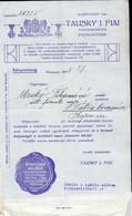 POZSONY 1915. Tautsky , Fejléces Céges Számla - Vieux Papiers