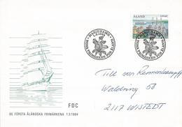 Aland 1984 Mariehamn Primrose Flower Ferry Sailing Ship Cover - Aland