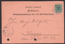 """STETTIN Postcard """"Empfangsbestätigung über Eine Postanweisung"""" Deutsche Reichspost 13.6.1900, Aktenlochung - Deutschland"""