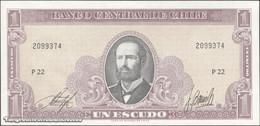 TWN - CHILE 136b - 1 Escudo 1964 Serie P 22 - Signatures: Inostroza & Barrios UNC - Chili