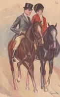 Lot 2 Cpa Illustrée Couple Amoureux Sur Superbes Chevaux Equitation Signée ??? - Horses