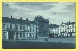 * Menen - Menin * (SBP, Nr 18) Collège Saint Louis Et Marché Aux Légumes, Imprimerie, Banque Perier, Animée, TOP - Menen