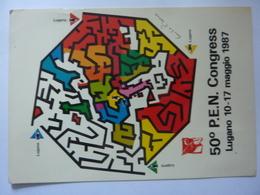"""Cartolina Viaggiata """"5O° P.E.N. CONGRESS Lugano 10 - 17 Maggio 1987"""" - Manifestazioni"""