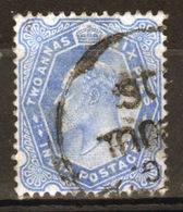 India 1902 King Edward VII  Two Anna Six Pies Ultramarine Used Stamp. - India (...-1947)