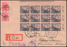 """Randleiste SBZ 212 RL1 (4) Portogenau Auf R-Brief Chemnitz Mit """"zurück""""-St., 2 Pf Käthe Kollwitz Lo. Eckrand-Einheit - Sowjetische Zone (SBZ)"""