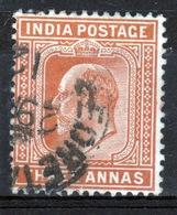 India 1902 King Edward VII Three Anna Orange Brown Used Stamp. - India (...-1947)