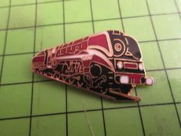 411c Pins Pin's / Rare & De Belle Qualité  THEME TRANSPORTS / SUPERBE LOCOMOTIVE NOIRE ET ROUGE SANG - Transports