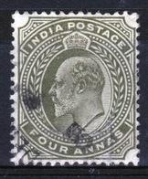 India 1902 King Edward VII Four Anna Olive Used Stamp. - India (...-1947)