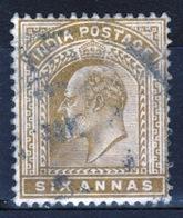 India 1902 King Edward VII Six Anna Olive Bistre Used Stamp. - India (...-1947)