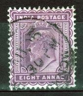 India 1902 King Edward VII Eight Anna Purple Used Stamp. - India (...-1947)