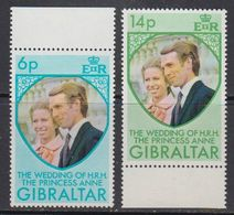 Gibraltar 1973 Wedding Princess Anne 2v ** Mnh (41507J) - Gibraltar