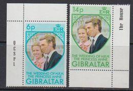 Gibraltar 1973 Wedding Princess Anne 2v (corner) ** Mnh (41507K) - Gibraltar