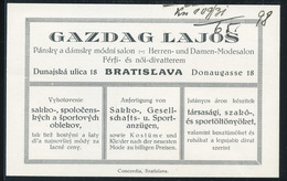 POZSONY 1930. Cca. Gazdag Lajos, Régi Reklám, Céges Kártya           ##  /  POZSONY Ca 1930 Lajos Gazdag Vintage Adv. Co - Vieux Papiers