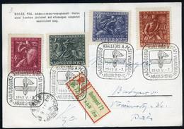 BUDAPEST 1943. Haditudósító Kiállítás, Ajánlott Képeslap Bonyhádra Küldve  /  BUDAPEST 1943 Military Riporter Expo Regis - Brieven En Documenten