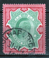 India 1902 King Edward VII Ten Rupee Green And Carmine Used Stamp. - India (...-1947)