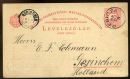 RESICZA 1894. 5 Kr-os UPU Díjjegyes, Kadett Iskola, Céges Bélyegzéssel Hollandiába Küldve - Hungary