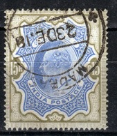 India 1902 King Edward VII Fifteen Rupee Blue And Olive Brown Used Stamp. - India (...-1947)