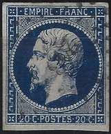 1853 Napoléon III N°14e Type I Bleu Noir Oblitéré PC 243 De Ballon, Superbe Nuance !! Signé Calves - 1853-1860 Napoleon III
