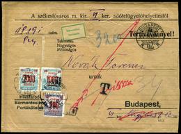 BUDAPEST 1924. érdekes, Helyi Retúr Levél, Három Címletű, Inflációs Portózással  /  BUDAPEST 1924 Interesting Local Retu - Ungheria