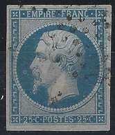 Napoléon III N°15a 25c Bleu Clair Oblitéré étoile Belles Marges /variété Anneau Lune Devant Le Nez  Signé Calves - 1853-1860 Napoleon III
