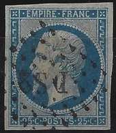Napoléon III N°15 25c Bleu Oblitéré Losange DS2 Romain Belles Marges Tres Frais Signé Calves - 1853-1860 Napoleon III