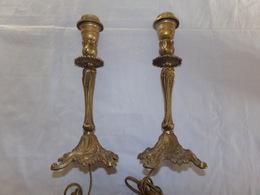 Paire De Pieds De Lampe En Bronze Sans Abat-jour ( 30 X 11 Cm, 2060 Gr ) - Luminaires