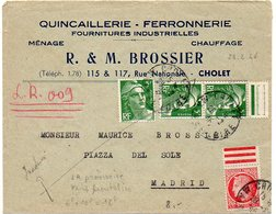 Mazelin + Gandon Sur Lettre Recommandée Provisoire De Cholet De 1946 Affarnchie à 16F (tarif Frontalier) Au Lieu De 20F - Postmark Collection (Covers)