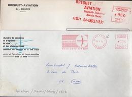 "EMA Rouge Nice RP AN 1 25 9 73 Et 64 Anglet 23 III 71 "" Aéroport Du Soleil Et Bréguet Aviation - Postmark Collection (Covers)"