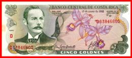 COSTA RICA BILLETE DE 5 COLONES DEL 15 DE ENERO DE 1992 PLANCHA - Costa Rica