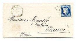 France N°60 Sur Lettre Rare GC 124 (Appoigny) Cachet Perlé Pour Auxerre - (B1266) - 1849-1876: Période Classique