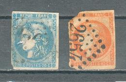 """FRANCE ; Cérès """" Bordeaux"""" ; 1870 ; Maury N°46 II Et 48 II ; Oblitéré - 1870 Bordeaux Printing"""
