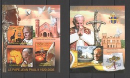 Y218 2011 CENTRAL AFRICA CENTRAFRICAINE FAMOUS PEOPLE RELIGION POPE JEAN PAUL II 1KB+1BL MNH - Papes
