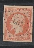 OBLI Aude 607 Capendu Sur N°16b Sur Paille TBE - 1853-1860 Napoleon III